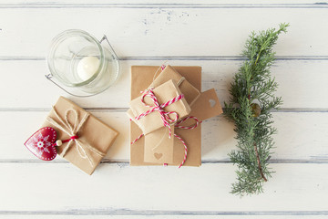 Red heart, christmas gift boxes with red & white baker's twine
