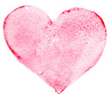 Watercolor painted red heart symbol for your design. Heart shap
