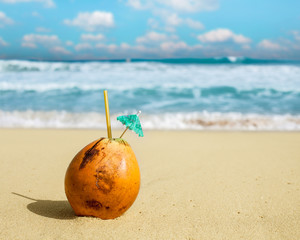 Coconut in the sand.