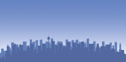Original contour of the big city on a blue background.