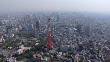 Aerial view Tokyo observation Tower Rainbow Bridge buildings Minato Japan