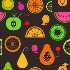 Colorful flat fruits seamless pattern