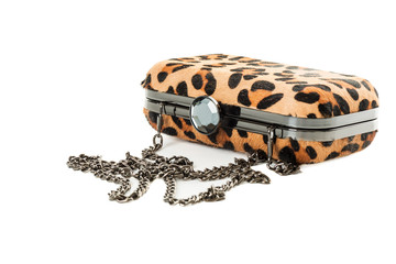 Leopard purse isolated on white background