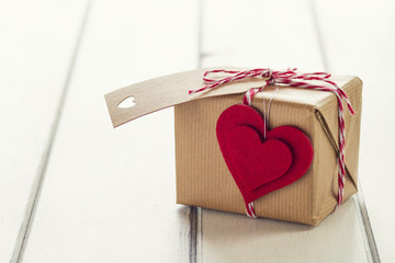 Red heart, a gift box, red & white baker's twine. Vintage Style