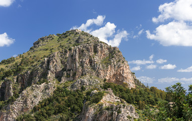 Mountain with ancient ruins at Cefalu