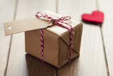 Valentine's day, red heart, gift box, red & white baker's twine - 76927458