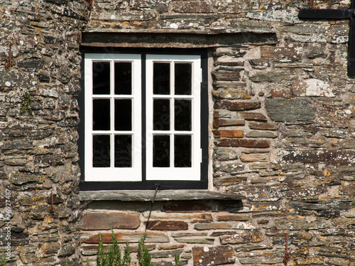 canvas print picture Window in an old house in Tintagel, Cornwall
