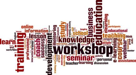 Workshop word cloud concept. Vector illustration