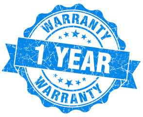 1 year warranty blue vintage isolated seal