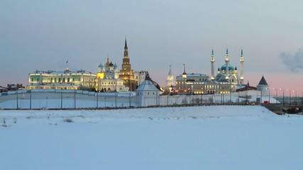 Lenin dam and Kazan Kremlin in winter evening