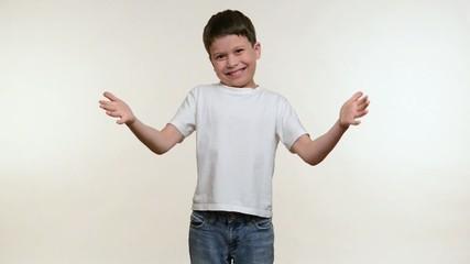 Boy applauds. White background