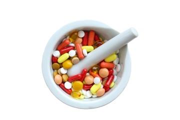 mörser mit tabletten