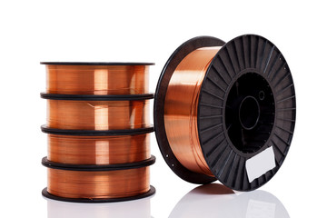 Copper alloy welding wire on spools