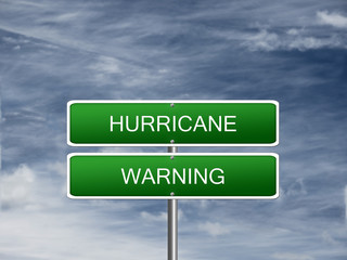 Hurricane Warning Alert Sign