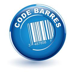 code barres sur bouton bleu