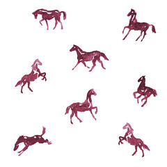 Watercolor horses. Vector