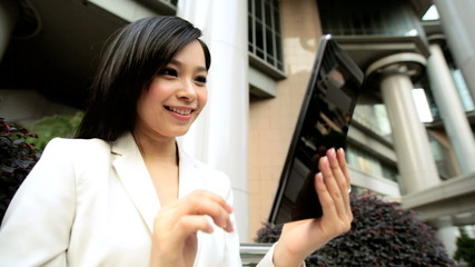 American Asian Chinese Girl Business Financial Executive Mini Tablet Client