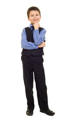 boy in suit on white