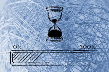 please wait hourglass illustration with progress bar