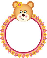 Teddy Bear with Flower Frame