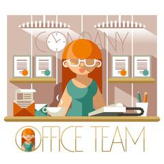 Flat Office Team Secretary