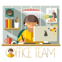 Flat Office Team Designer