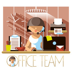 Flat Office Team Support