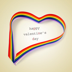 rainbow heart and text happy valentines day, with a retro effect