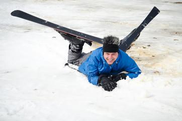 male skier fell
