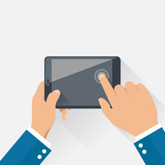 Hands holding digital tablet in flat design style