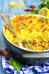Shepherd's pie with corn.