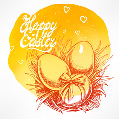 cute card with Easter nest
