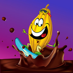 cocoa pod surfing on chocolate splash - vector