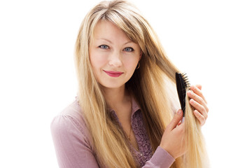woman and hairbrush