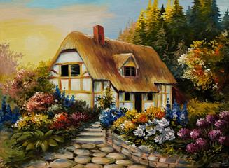 Oil painting of fairy house, art work