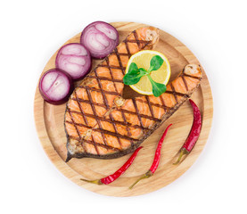 Grilled steak of salmon
