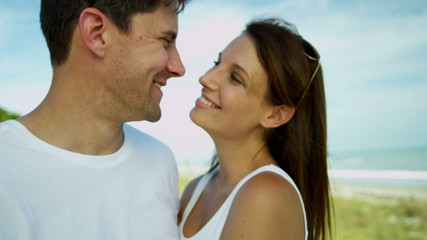 Portrait Loving Caucasian Male Female Beach Vacation Close Up