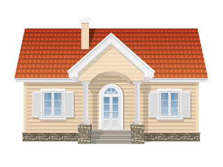 suburban house, realistic vector illustration