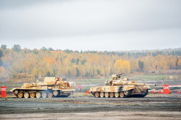 Armoured recovery vehicle BREM-1M in action