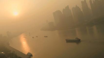 Sunset Air Pollution Huangpu River Pudong District Shanghai China