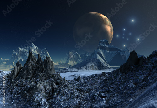 Foto op Canvas UFO Alien Planet - 3D Rendered Computer Artwork