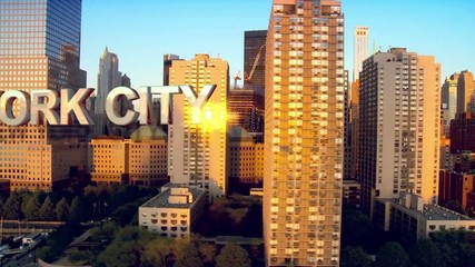 CG video montage aerial view area Manhattan USA motion graphics