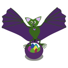 Bat flapping its green wings over a basket of easter eggs.