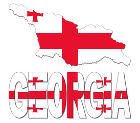 Georgia map flag and text illustration