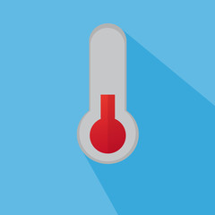Flat Thermometer With Red Scale And Blue Shadow And Background
