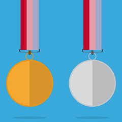 Medal With Color Ribbon And Shadow