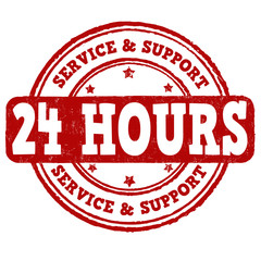 24 hour service and support stamp