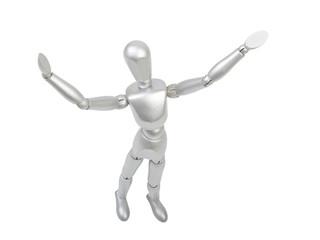 wooden man figure holding