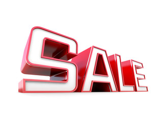 Sale red tag on white background