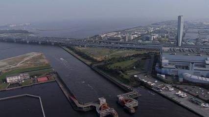 Aerial Tokyo Bay Industrial Urban area transport Japan Asia